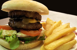 Treat yourself to a good old Cheeseburger and Chips at the Blacksmiths Arms, Millhouse Green